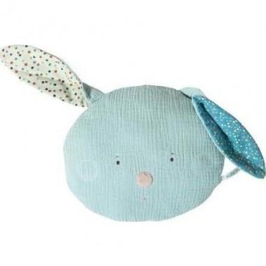 Coussin tête lapin bleu Les Jolis...