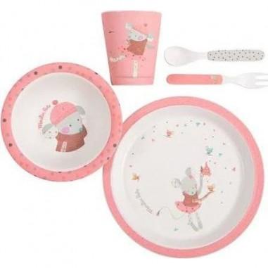 Set vaisselle rose les jolis trop beaux - Moulin Roty