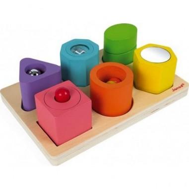 Puzzle en bois 6 cubes sensoriels -...