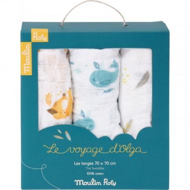 """Coffret de 3 Langes Imprimés """"Le Voyage D'Olga"""" - Moulin Roty"""