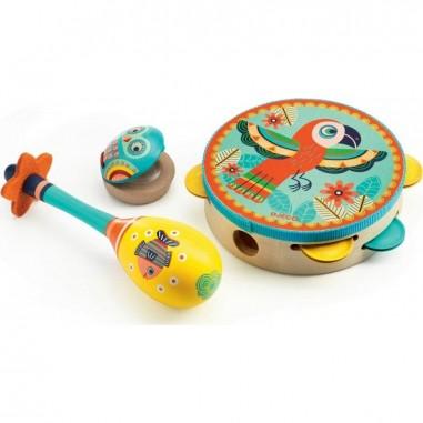 Instruments de musique - Tambourin Maracas Castagnette - Animambo - Djeco