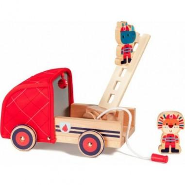 Camion de pompier en bois Marius -...