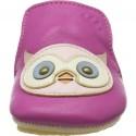 Chaussons en cuir pour bébés Blublu Chouette Fuschia - Easy Peasy