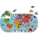 """Jeu puzzle de bain """"Carte des Explorateurs"""" - Janod"""