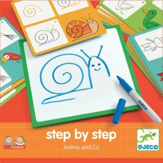 """Coffret Apprendre à dessiner """"Step by Step"""" Animal and Co - Djeco"""
