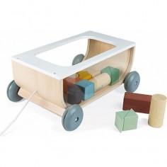 Chariot à tirer en bois avec 17 cubes Sweet Cocoon - Janod