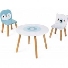 """Ensemble Table et 2 Chaises en bois """"Banquise"""" - Janod"""