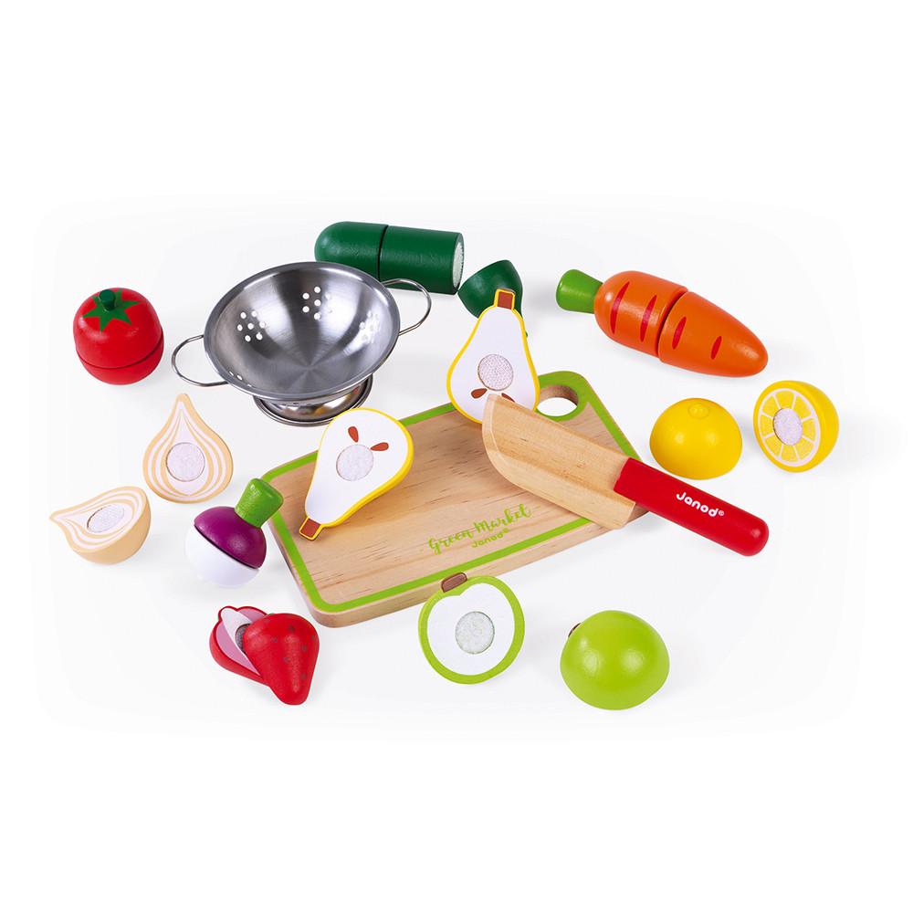 Maxi set fruits et légumes à découper Janod